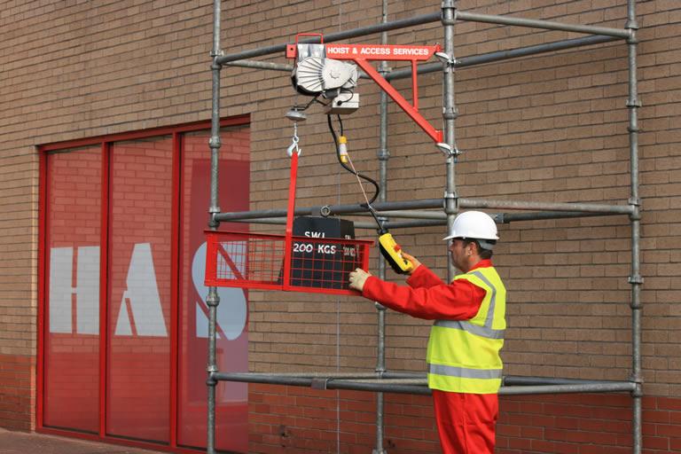 Electric Scaffold Hoist Lift : Scaffold electric hoist access services ltd